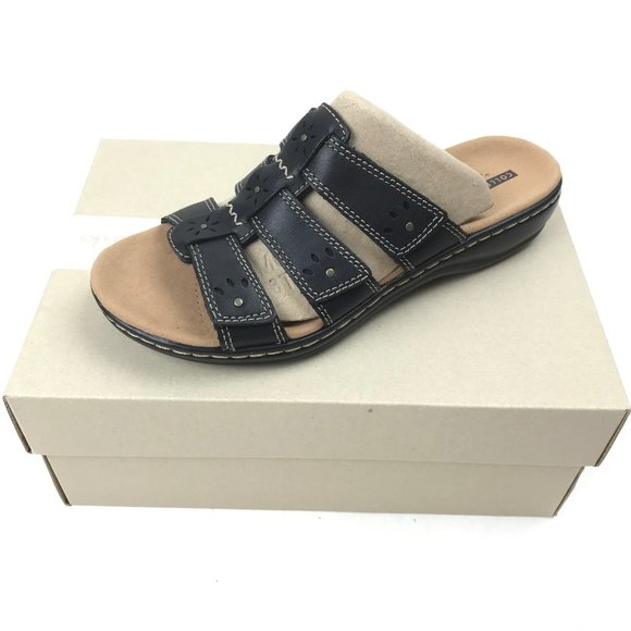 Clarks Blue Multi Leather Leisa Spring Triple Strap Slide Sandal New